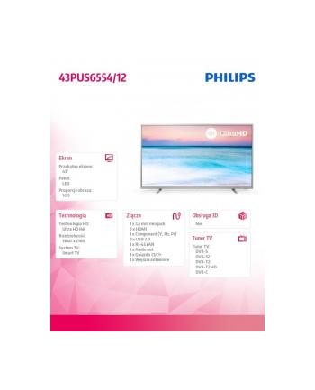 philips Telewizor LED 43 cale 43PUS6554/12