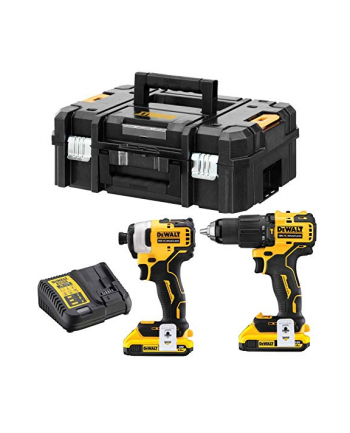 DeWalt cordless screwdriver combo pack DCK2062D2T, 18 Volt, Hammer(yellow / black, 2 screwdriver, 2x Li-ion battery pack XR 2,0Ah, T STAK box II)