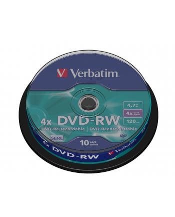Płytki DVD-RW VERBATIM 4x 4.7GB 10P CB 43552