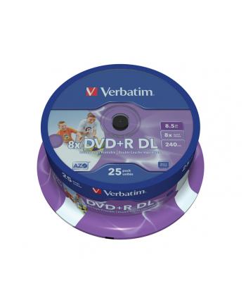 Płytki DVD+R VERBATIM 8x DL 8.5G Cake Box 25 szt. PRINTABLE DoubleLayer 43667