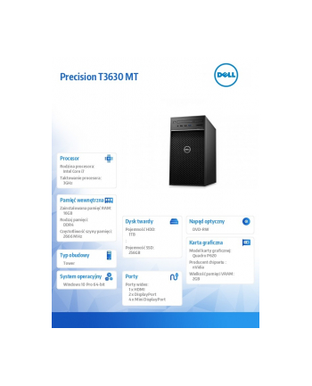 dell Komputer Precision  T3630 MT i7-9700K/16GB/256GB SSD M.2/1TB/Nvidia P620/DVD RW/W10Pro/KB216/MS116/vPRO/3Y NBD