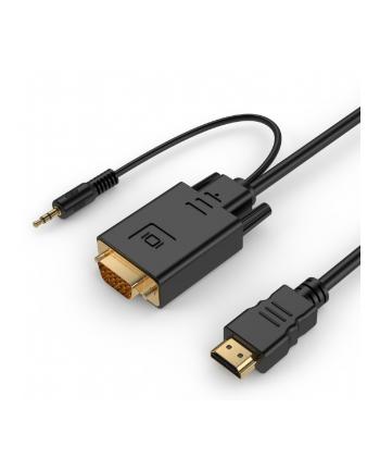 gembird Konwerter HDMI do VGA mini Jack 1.8 m czarny