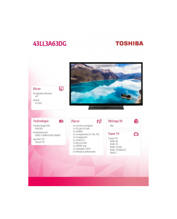 toshiba Telewior Full HD 43 cale Smart 43LL3A63DG