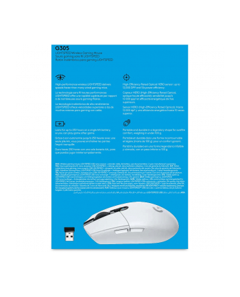 logitech MYSZ GAMINGOWA G305 Wireless White