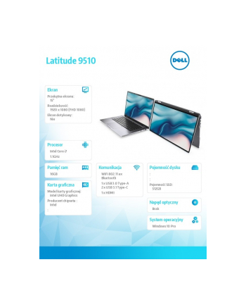 dell Notebook Latitude 9510 i7-10810U/16GB/SSD512GB/15.0 FHD/UHD/FPR/SCR/Backlit Kb/4 Cell/W10Pro/3Y BWOS