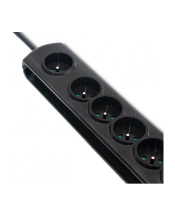 qoltec Listwa antyprzepięciowa z wyłącznikiem nożnym | 7 gniazd | 1.5m | Czarna