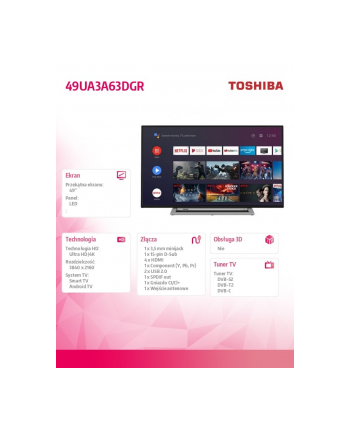 toshiba Telewizor LED 49 cali 49UA3A63DGR
