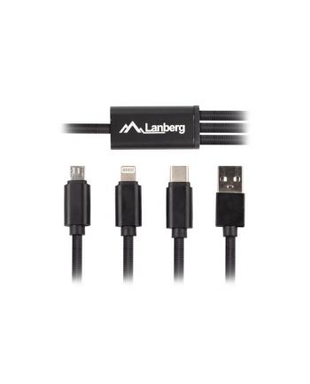 lanberg Kabel COMBO USB-A(M)->USB MICRO(M)+LIGHTNING(M)+USB-C(M) 2.0 1m czarny Premium