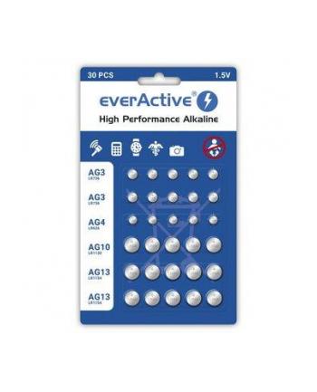 EVERACTIVE BATERIE ALKALICZNE MINI ZESTAW: 10 X G3 / LR41  5 X G4 / LR626  5 X G10 / LR1130  10 X G13 / LR1154 AGMIX30BL