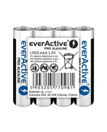 EVERACTIVE BATERIE ALKALICZNE PRO ALKALINE R03  AAA  SHRINK 4SZT   1250 MAH  WYSOKA WYDAJNOŚĆ  LR03PRO4T