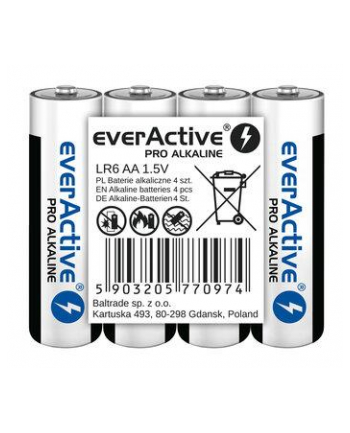 EVERACTIVE BATERIE ALKALICZNE PRO ALKALINE AA  LR6  SHRINK 4 SZT  1250 MAH  WYSOKA WYDAJNOŚĆ  LR6PRO4T