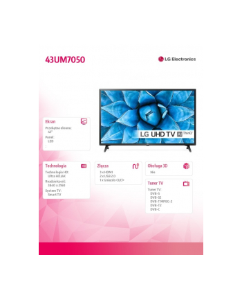 lg electronics Telewizor LED 43 cala 43UM7050