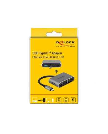 DELOCK USB Type-C Adapter to HDMI and VGA with USB 3.0 Port and PD