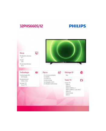 philips Telewizor LED 32 cale 32PHS6605/12 SMART