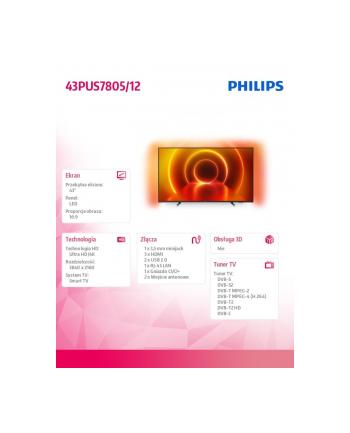 philips Telewizor LED 43 cale 43PUS7805/12 SMART AMBILIGHT