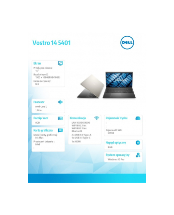dell Notebook Vostro 5401 Win10Pro i7-1065G7/512/8/INT/FHD