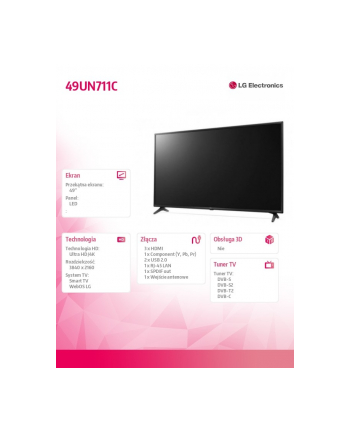 lg electronics Telewizor LED 49 cali 49UN711C