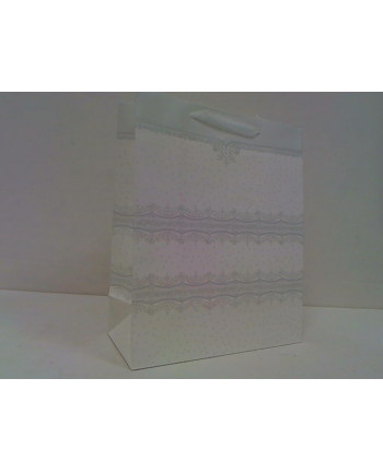 rozette Torebka Lux brokat A4duża biała 48496.