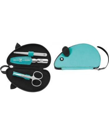 Zestaw podróżny do manicure ZWILLING 97482-000-0 Twin Kids – etui w kształcie myszki  3 elementy turkusowy