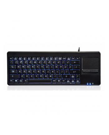 Klawiatura przewodowa Perixx PERIBOARD-315 podświetlana, touchpad, hub USB, czarna