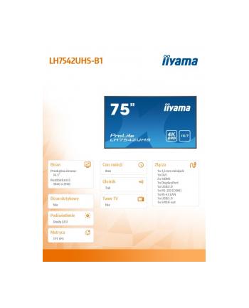 iiyama Monitor wielkoformatowy 74.5 cala LH7542UHS-B1 4K,18/7,SDM,IPS,LAN,PION,500cd/m2,OS8.0