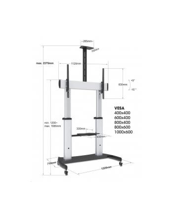 MANHATTAN Heavy-Duty TV Cart Aluminum Constructionup up to 100kg 220lbs 60i to 100i tilt Height-Adjustable two Shelves Silver/Black
