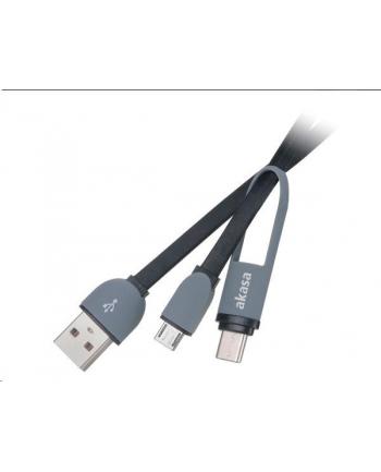 Akasa KABEL USB  2V1 USB TYPE-C A MICRO B NA USB TYPE-A, 100CM  (AKCBUB3510BK)
