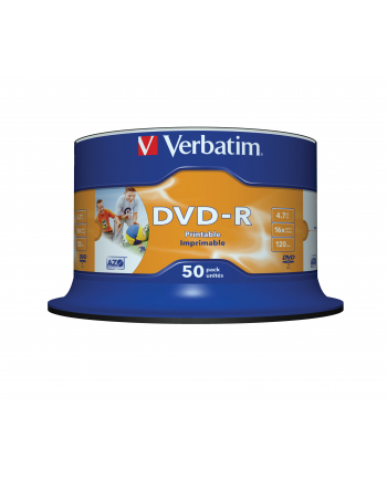 Płytki DVD-R VERBATIM 16x 4.7GB 50P CB PRINTABLE   43533