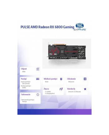 sapphire technology Karta graficzna PULSE AMD Radeon RX 6800 Gaming 16GB 256bit GDDR6 HDMI/3DP