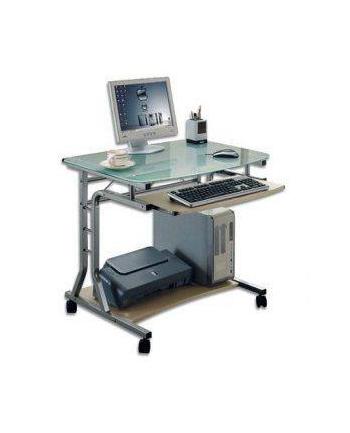 TECHLY Biurko komputerowe ze szklanym blatem i półką na klawiaturę