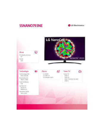 lg electronics Telewizor LED 55 cali 55NANO793NE
