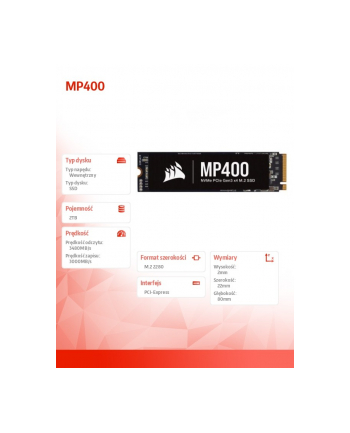 corsair Dysk SSD 2TB MP400 Series 3480/3000 MB/s PCIe M.2