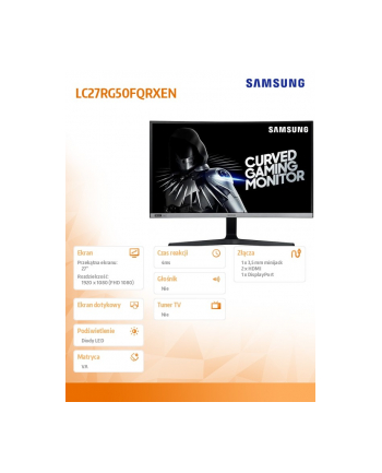 samsung Monitor 27 cali LC27RG50FQRXEN VA 1920x1080 FHD 16:9 4 ms (GTG) zakrzywiony 240Hz