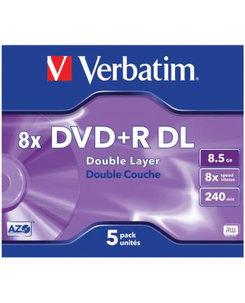 Verbatim double layer DVD+R 8.5GB 8X matte silver/AZO jewel box-43541 5-pack