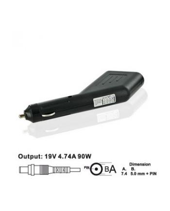 Whitenergy samochodowy zasilacz 19V/4.74A 90W wtyczka 7.4x5.0mm + pin HP
