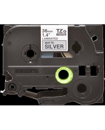 Taśma Brother 36mm BLACK ON SILVER (MAT) TAPE/METALIC