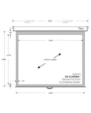 Ekran projekcyjny Optoma DS-3120PMG+ (120'', 4:3, 234x175)