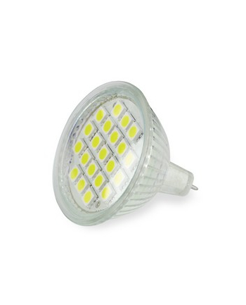 Whitenergy żarówka LED| GU5.3 | 21 SMD 5050 | 3W| 12V| ciepła biała| reflektor