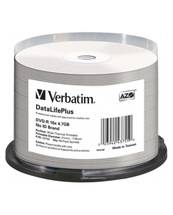 DVD-R Verbatim [ cake box 50 | 4.7GB | 16x | do nadruku Thermal ]