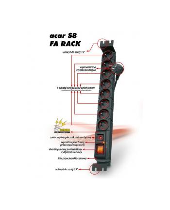Acar S8 FA RACK, listwa zasilająco-filtrująca, 8 gniazd do szaf 19'', czarna, 3m