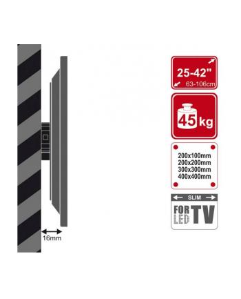 4World Uchwyt ścienny do LCD 25''-42'' samopoziomujący udźwig 45kg BLK