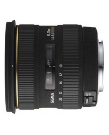 Sigma AF 10-20mm F4-5.6 EX DC HSM mocowanie: Canon, 14 elementów w 10 grupach, kąt widzenia: 102.4-63.8 stopni, 6 listków przysłony, średnica filtra 77mm, minimalny dystans ostrzenia: 24cm [201927]
