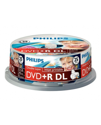 PHILIPS DVD+R 8,5GB 8X DL WHITE INKJET PRINT. CAKE*25  DR8I8B25F/00