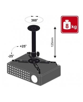 4World Uchwyt sufitowy do projektorów uchylny/obrotowy, max.8kg, BLK