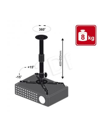 4World Uchwyt sufitowy do projektorów uchylny/regulowana wysokość max.8kg BLK