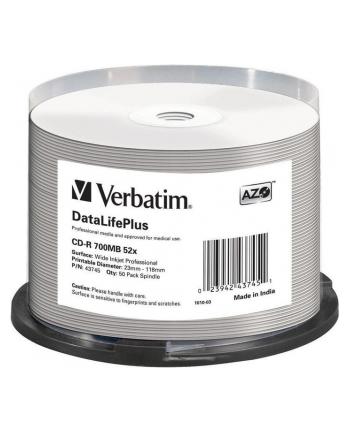 VERBATIM CD-R AZO 52X 700MB WIDE SILVER INKJET PRINTABLE NON ID