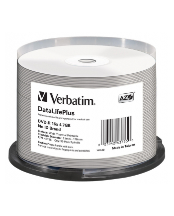 VERBATIM DVD-R(50-Pack)/Spindle/16X/4.7GB/DataLife Plus Wide Thermal dofessional  No ID Brand