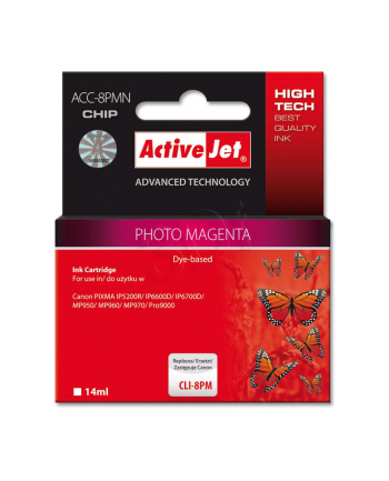 ActiveJet ACC-8PM (ACC-8PCN) tusz Photo Magenta do drukarki Canon (zam. CLI-8PM)     (CHIP)