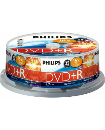 Płytki PHILIPS DVD+R 4,7 16x cake 25