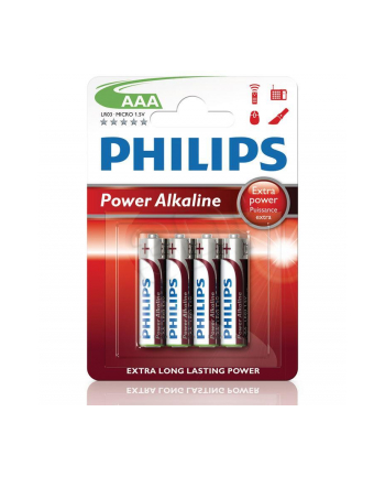 Bateria PHILIPS LR03P4B/10 AAA POWER ALAKLINE 4 szt. ( Technologia alkaliczna idealna do urządzeń o dużym poborze energii: zabawki  odtwrzacze przenośne )